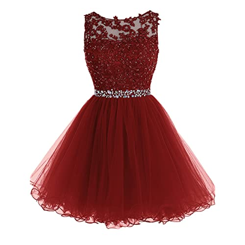 Tideclothes ALAGIRLS Short Beaded Homecoming Dress Tulle Lace Applique Prom Party Gowns