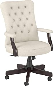Bush Business Furniture Arden Lane High Back Tufted Office Chair with Arms, Cream Fabric