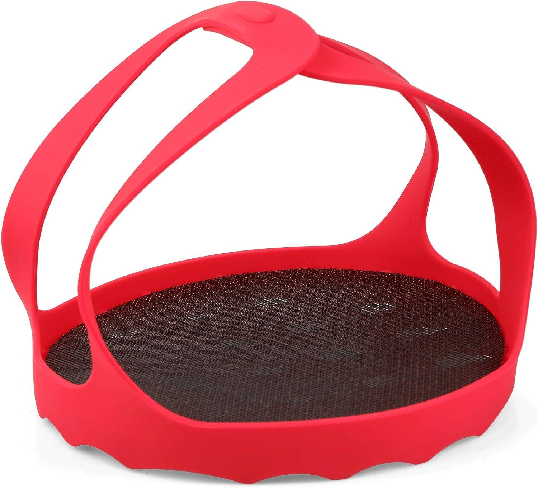 MingTa Silicone Sling Trivet Steamer Basket Pot Holders Compatible with 6 Qt / 8 Qt Pressure Cookers 3-in-1 Bakeware Pan Sling Lifter Egg Rack with Mesh Mat