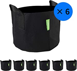WowTowel 6-Pack 3 Gallon Premium Grow Bags,Aeration Fabric Pots with Handles for Indoor & Outdoor Grow Containers for Nursery Garden and Planting with Vegetables and Fruits