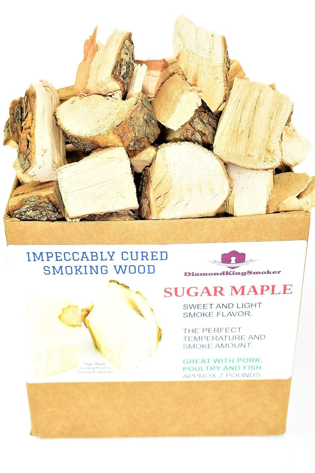 DiamondKingSmoker Sugar Maple Smoking Wood Chunks 100% All Natural Barbecue Smoker Chunks for Grilling and BBQ | Large Cut Smoker Chips | Impeccably Cured for Premium Flavor Profile (7lbs) by DiamondKingSmoker