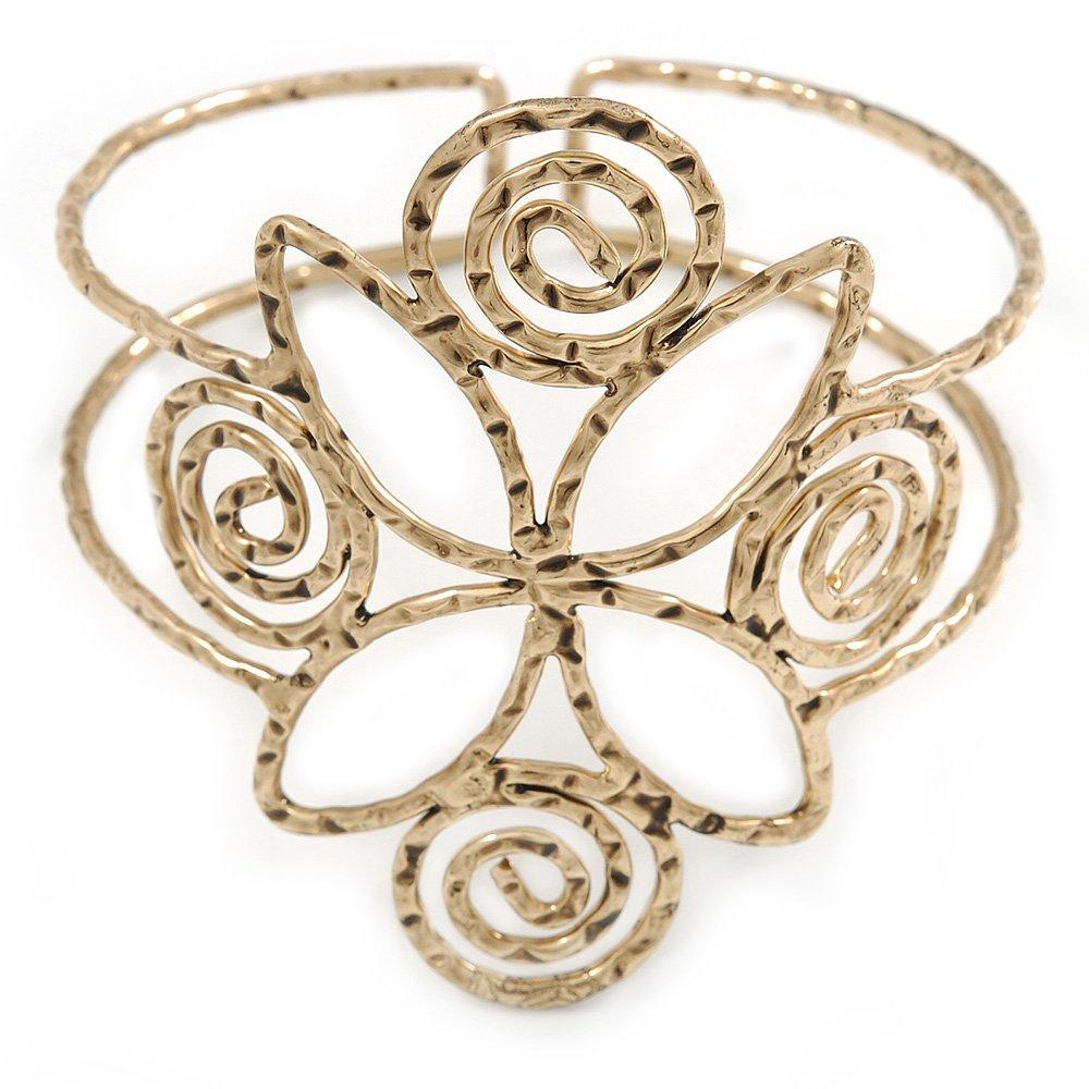 De estilo egipcio Twirl - Tensiómetro de brazo, Armlet pulsera en oro antiguo martillado - Ajustable: Amazon.es: Joyería