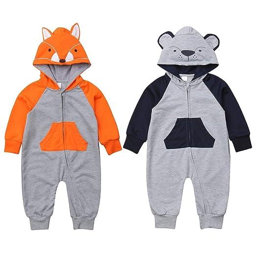 7be3129b7 Amazon.com  Newborn Baby Boy Girl Fox Hooded Romper Long Sleeve ...
