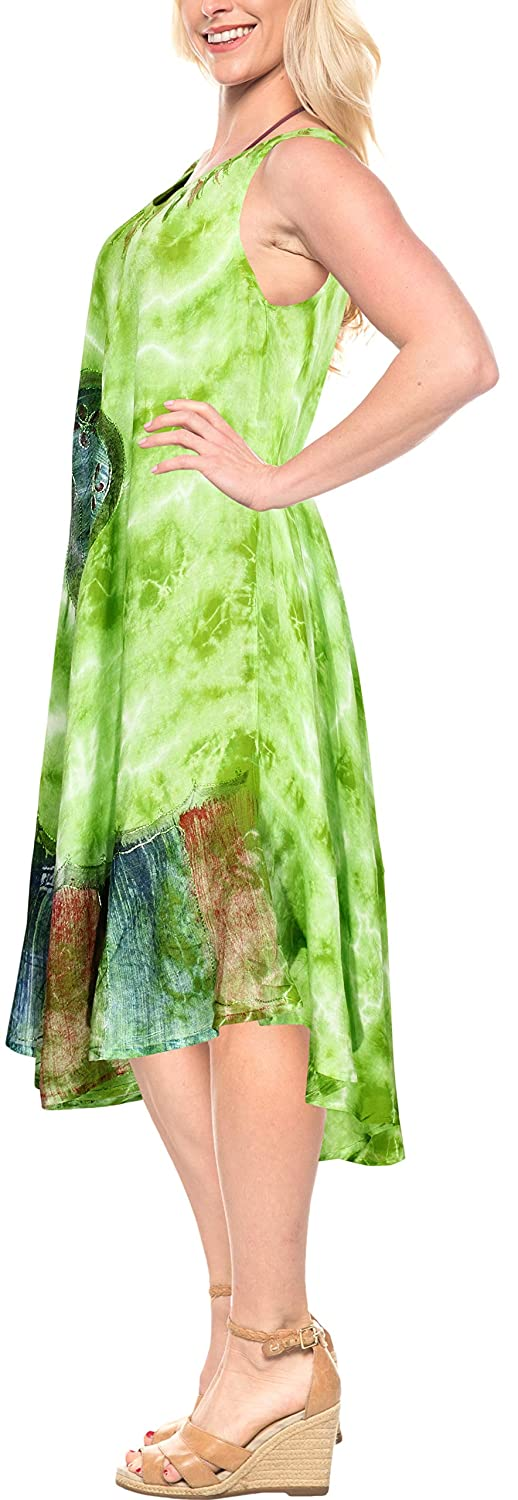 LA LEELA Womens Casual Summer Tank Swing Sun Dresses Cover Up Hand Tie Dye A