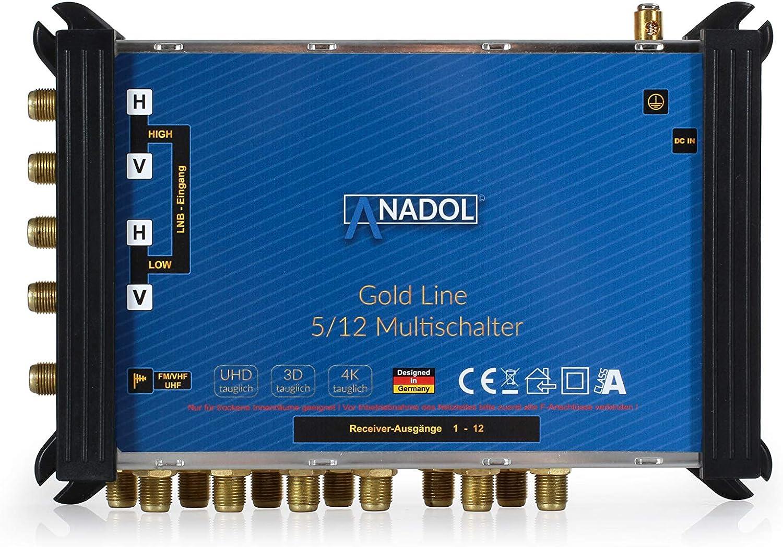 Test SEHR GUT MULTISCHALTER Set: Anadol Gold Line 5//12 digitaler Multischalter 25 vergoldete F-Stecker gratis Test 2X SEHR GUT LNB f/ür 1 Satellit und 12 Ausg/änge//Receiver Anadol Quattro LNB