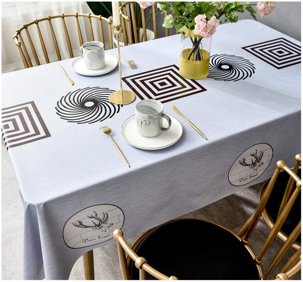 WJJYTX Wachstuch tischdecke, viereckige Tischdecke für Tischtücher aus PVC, abwischbar, ölbeständig/wasserdicht, schmutzabweisend, schwarz, geometrisch, blaues Gesicht @ 140 * 220