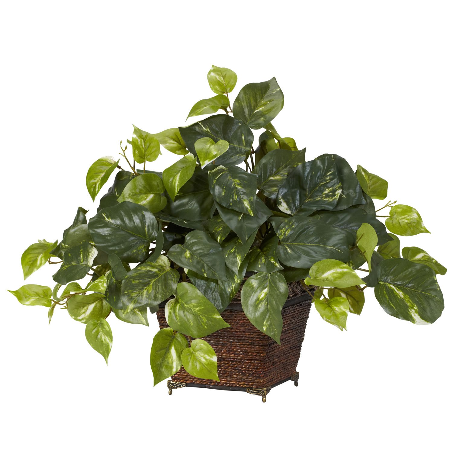 Green Nearly Natural 6704 Pothos with Coiled Rope Decorative Silk Plant
