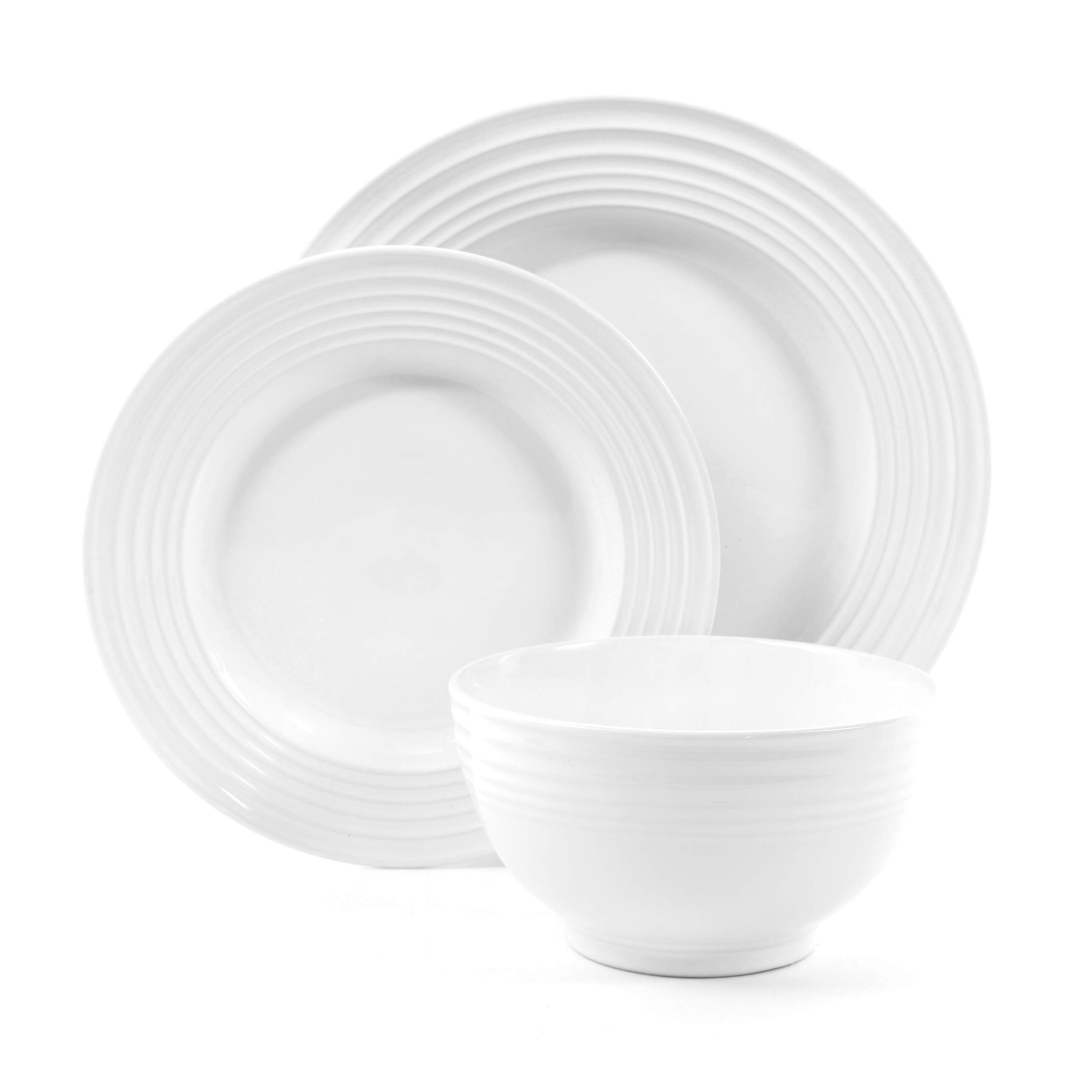 Gibson Home 12 Piece Plaza Cafe Round Dinnerware Set with Embossed Stoneware, White by Gibson Home (Image #2)