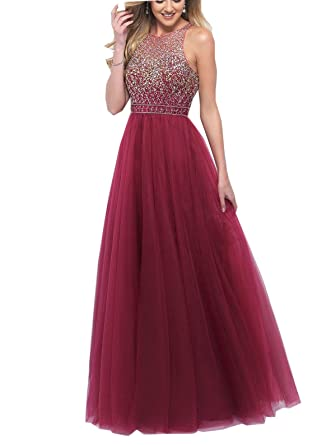 SUJIA Womens Beaded Long Prom Dress Homecoming Prom Gowns SUJIA141BD-US2