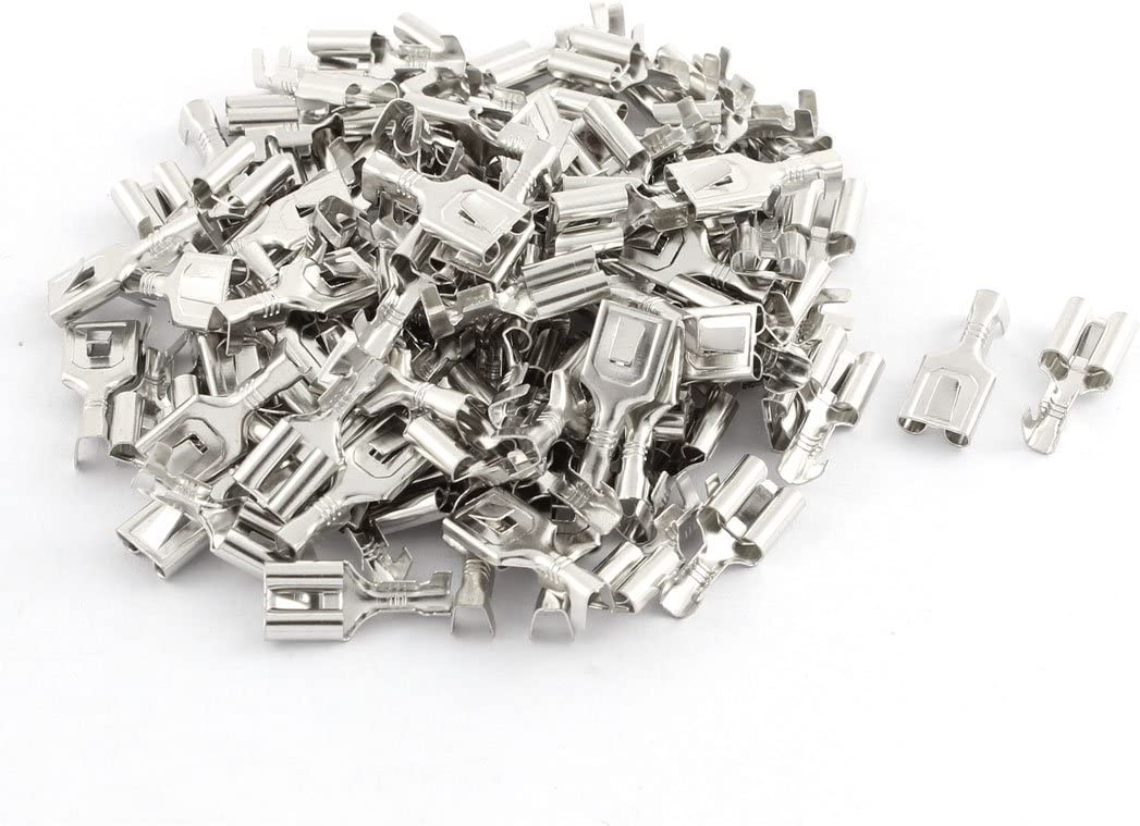 Aexit 7.8mm Female Audio /& Video Accessories Spade Terminal Wire Connector Silver Tone Connectors /& Adapters 100 Pcs