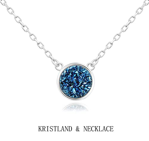 KristLand - 925 Silver Necklace Simple Style Natural Druzy Round Rainbow Stone  Pendant Adjustable Chain Blue 9de2a5f4dc6