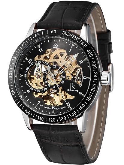 Alienwork IK Reloj Mecánico Automático Relojes Automáticos Hombre Mujer Piel de vaca negro Analógicos Unisex Impermeable esqueleto: Amazon.es: Relojes