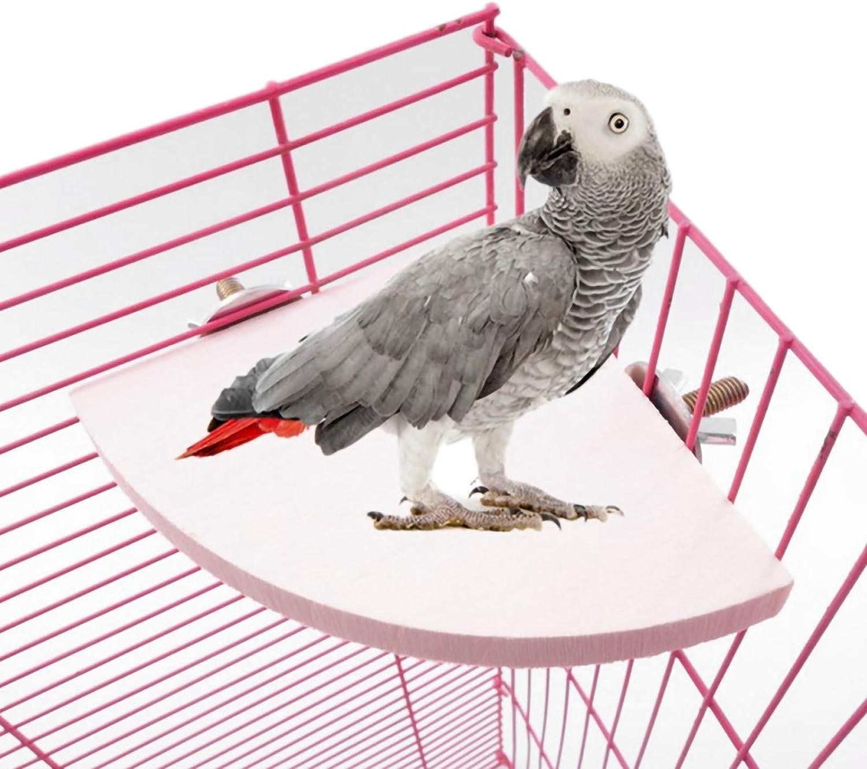 Felenny Soporte de Plataforma para Perca de Pájaro para Mascotas Forma de Abanico de Madera Percha para Jaula Perchas Plataforma de Soporte Accesorios para Jaula de Hámster Adecuados para