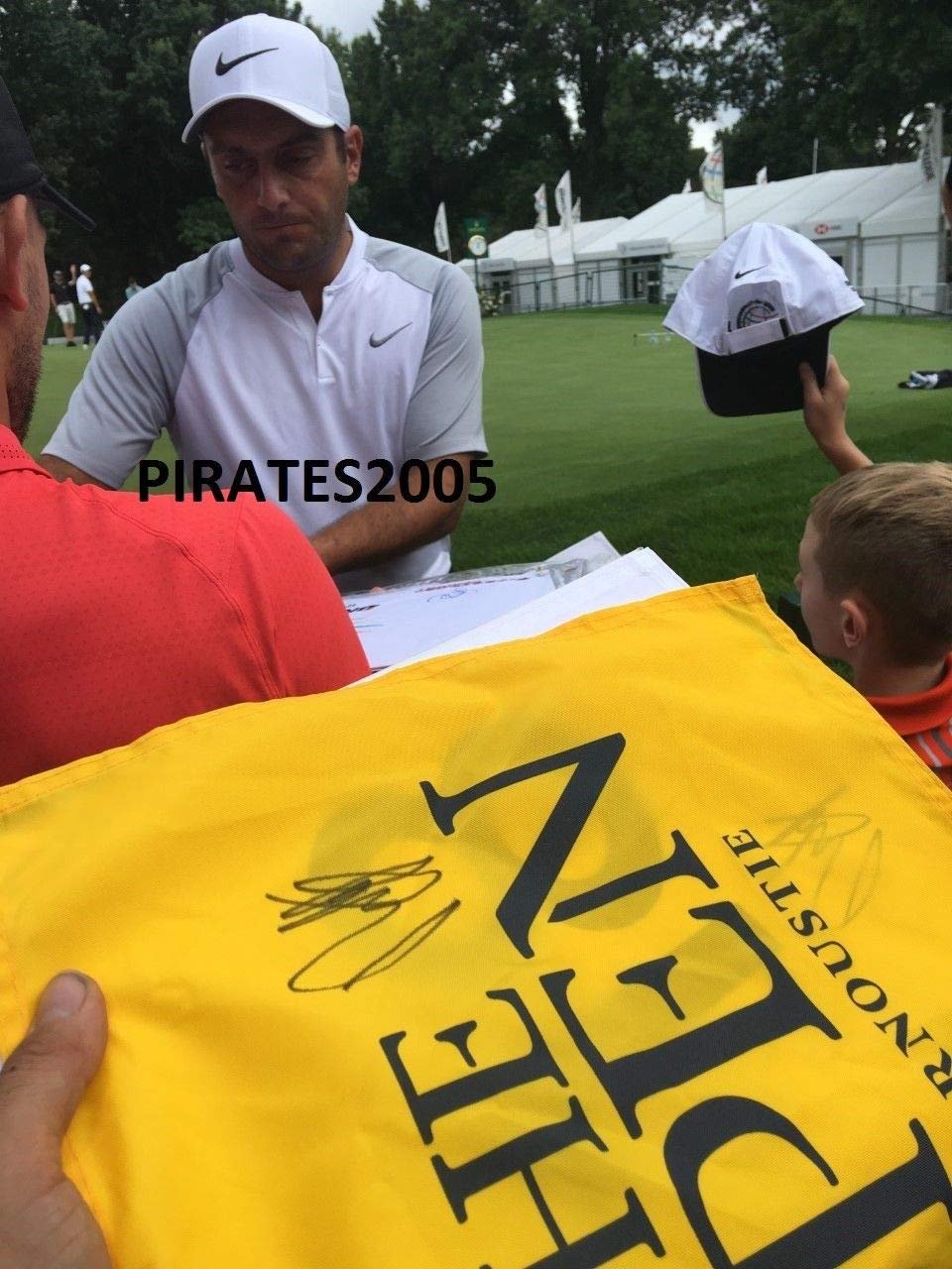 Francesco Molinari Autographed Signed 2018 British Open Flag Carnoustie Proof JSA Authentic