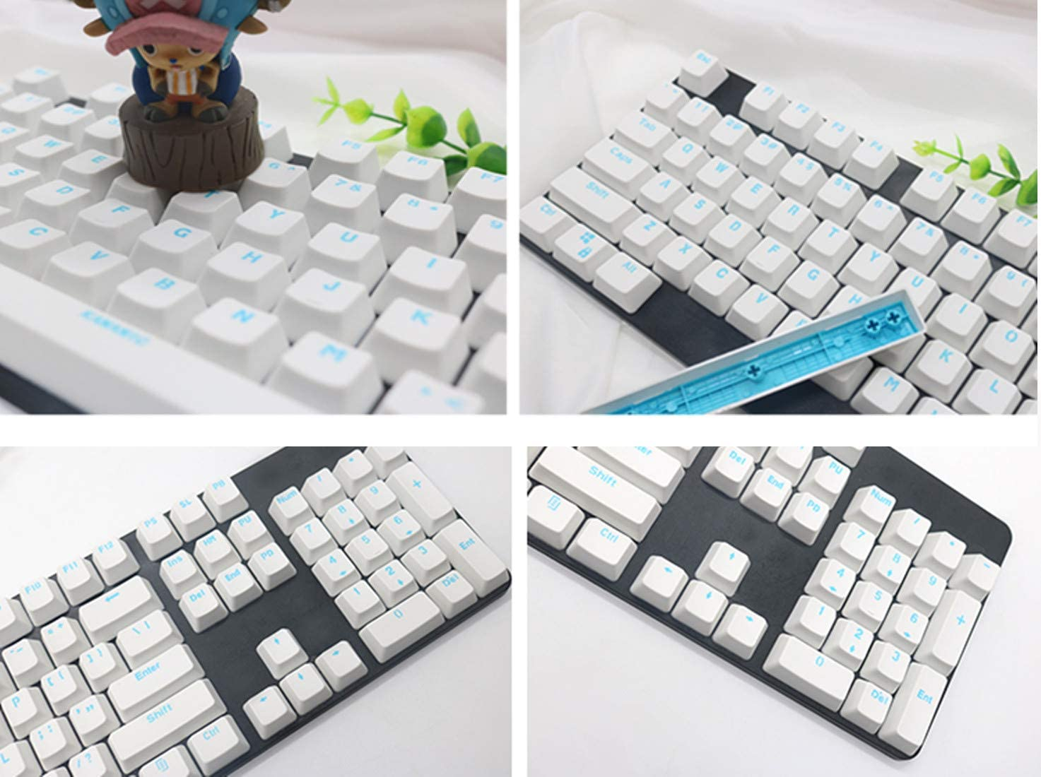 104//108 Keys PBT Keycap Top Printed Doubleshot Keyset OEM Profile for for 61//87//104//108 Cherry MX Switches Mechanical Keyboard White Green 108 Keys