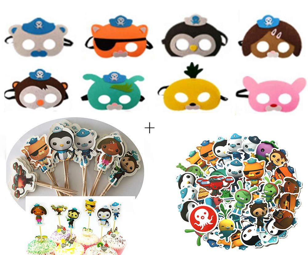 Cosplay Octonauts Masks Cupcake Toppers Food Picks & Decal Stickers Party Supplies