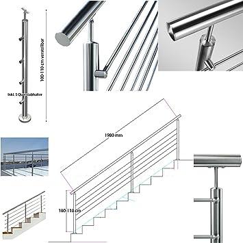 Acero inoxidable barandillas de acero inoxidable de la mano de ejecución de diferentes longitudes de barandilla ángulo + regulable en altura de las escaleras barandillas de parapeto kit: Amazon.es: Bricolaje y herramientas