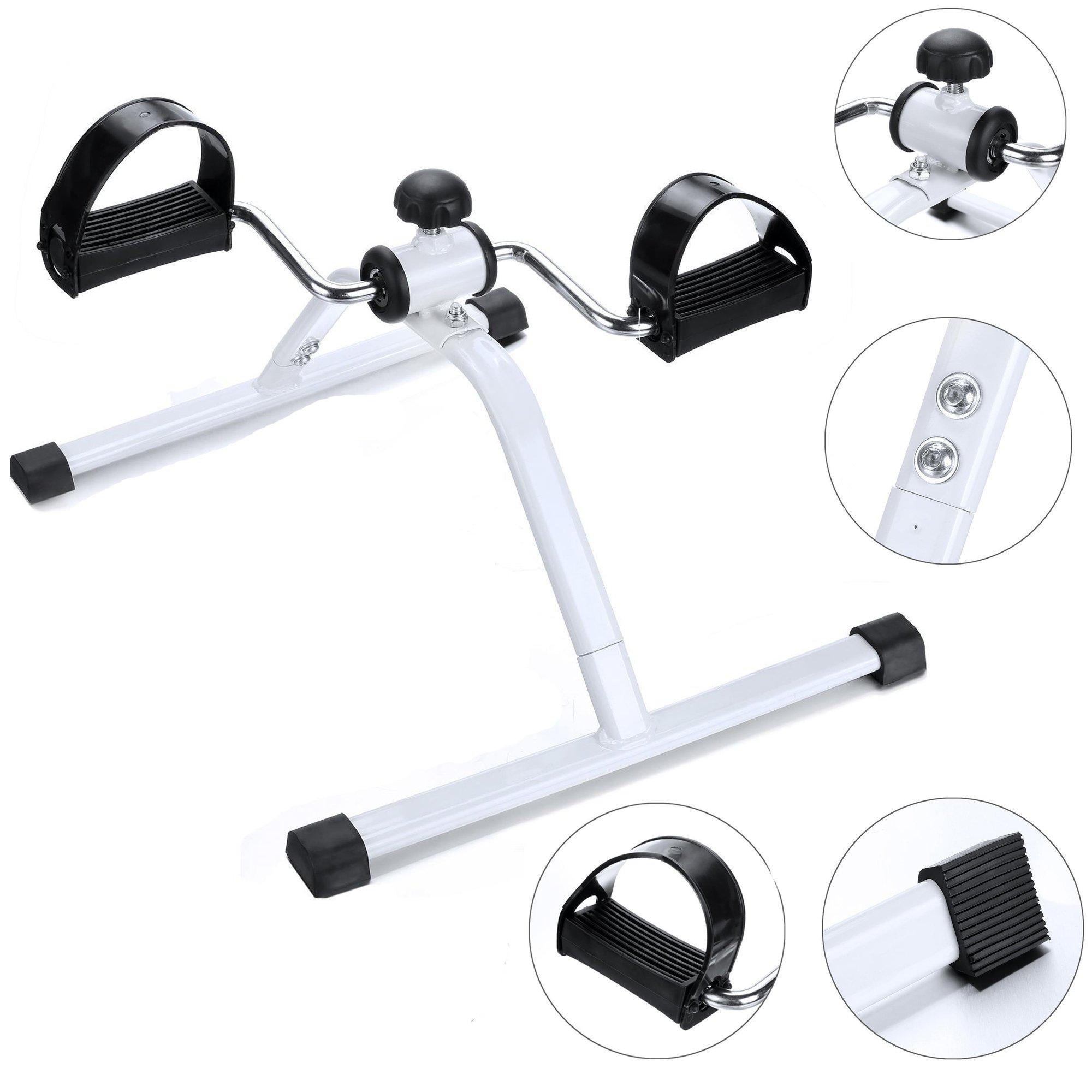 Asatr Leg Pedal Exerciser, Mini Exercise Bike Arm and Leg Exerciser- White-USA