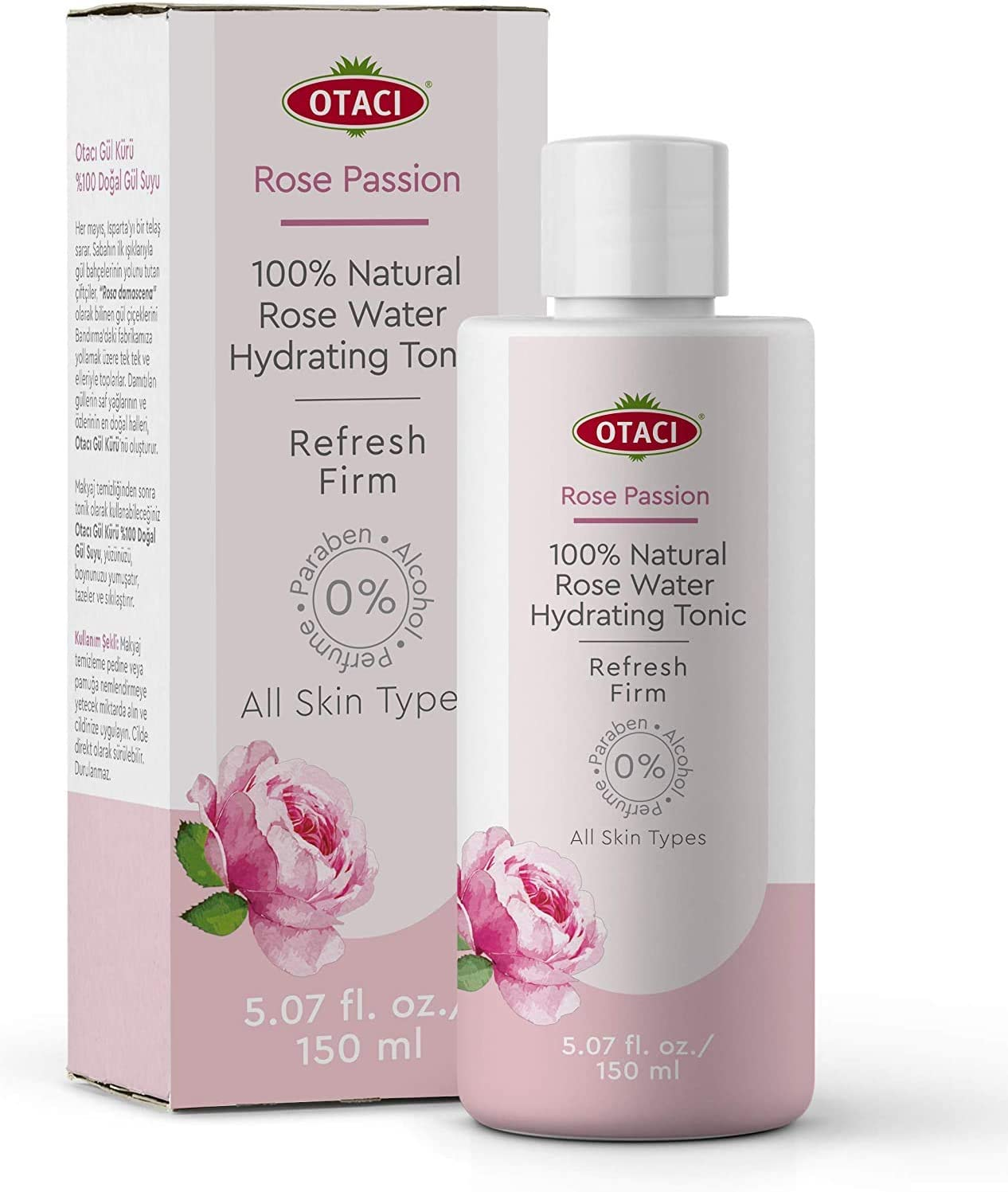 OTACI Rose Passion 100% Natural Rose Water Hydrating Toner, Facial Skin Moisturizer Hydrating Natural Cleanser