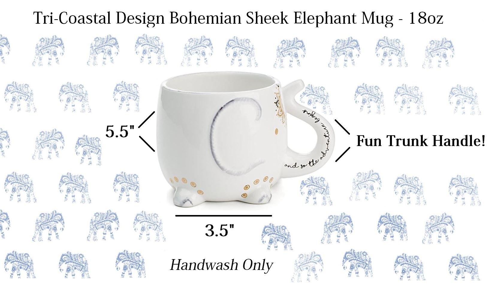 White Ceramic Coffee or Tea Mugs: Tri-Coastal Design Soho Boho Elephant Coffee Mug with Gold Foil Details, Fun Trunk Handle and Printed Saying - 18.6 Fluid Ounce Large, Cute Handmade Cup by Tri-coastal Design (Image #3)