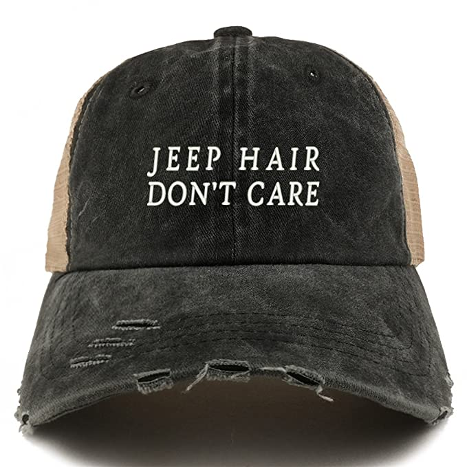a178ef8c4049c Trendy Apparel Shop Jeep Hair Don t Care Embroidered Frayed Bill Trucker  Mesh Back Cap