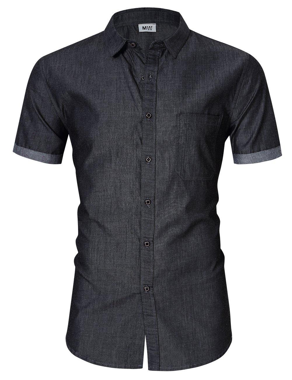 MrWonder メンズカジュアルスリムフィット長袖ボタンダウンドレスシャツ デニムシャツ B072BDD4HS XL|グレー グレー XL