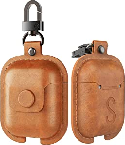MoKo Case Fit AirPods 1/AirPods 2, Premium PU Leather Vintage Style Snap Closure Protective Cover Carrying Pouch Pocket with Keychain for AirPods 1 & AirPods 2 Earphones Charging Case - Dark Brown