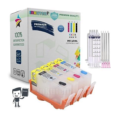 INKUTEN 4 Refillable (Empty) Cartridges for HP 920, HP 920XL, Auto Reset  Chips (ARC) for OfficeJet 6000, OfficeJet 6500, OfficeJet 6500a, OfficeJet