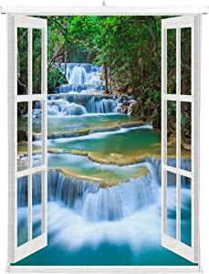 HommomH Print Canvas Wall Decoration Poster (24x36 inch) with Hanging Shaft Waterfall Forest Jungle Landscape Nature Panoramic Through Windows Beautiful