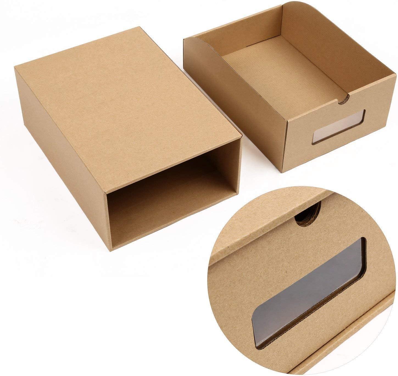 MVPOWER Bo/îte /à Chaussures en Papier Kraft Bo/îte de Rangement Bo/îte /à Chaussure avec Tiroir Bo/îte /à Chaussure avec Tiroir en Carton Epais 10 PCS