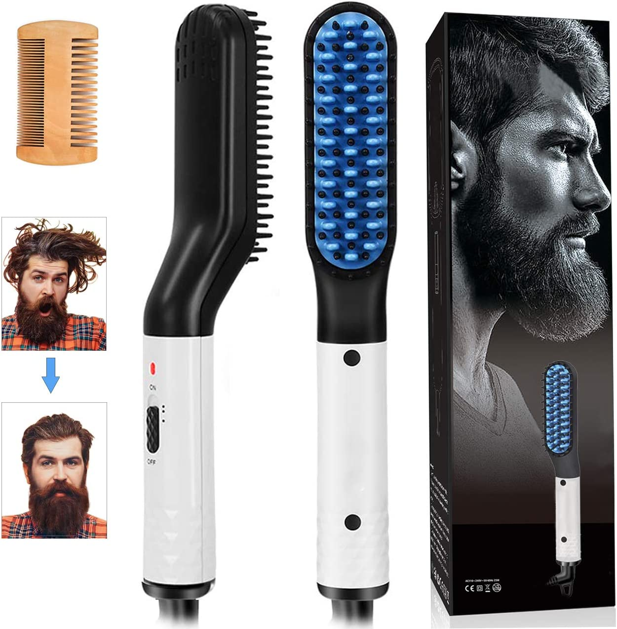 Beard Straightener Brush 2in1 Hair Comb For Men Eectric Lonic Anti Scald Hot Comb Hair Straightener Portable For Long Beard Or Curly Hair Dual Voltage 110 240v Great For Travel And Home Blue Amazon Co Uk