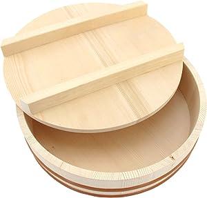 """BambooMN 15.3"""" Hangiri Sushi Oke Rice Mixing Tub with Lid, 1 Piece"""