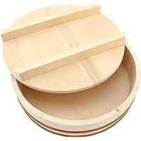 """BambooMN 10.6"""" Hangiri Sushi Oke Rice Mixing Tub with Lid, 1 Piece"""