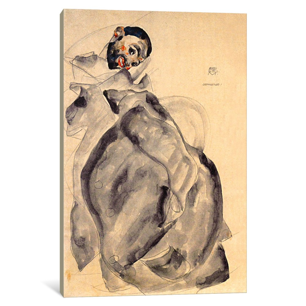 0.75 by 40 by 60-Inch iCanvasART 3-Piece Prisoner Canvas Print by Egon Schiele