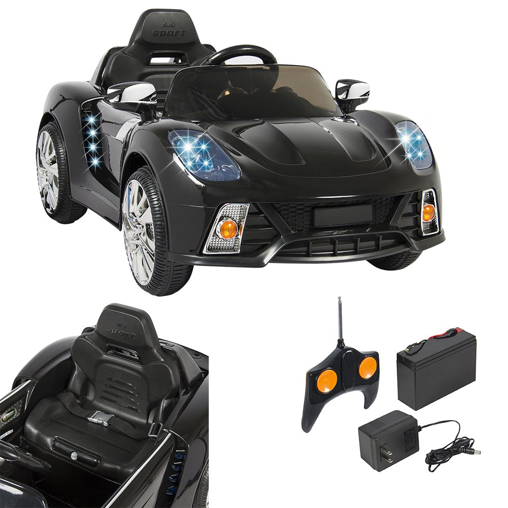 Marketworldcup-12V Ride On Car Kids W/ MP3 Electric Battery Power Remote Control RC Black Two 12V Motors With High & Low Speed Options!