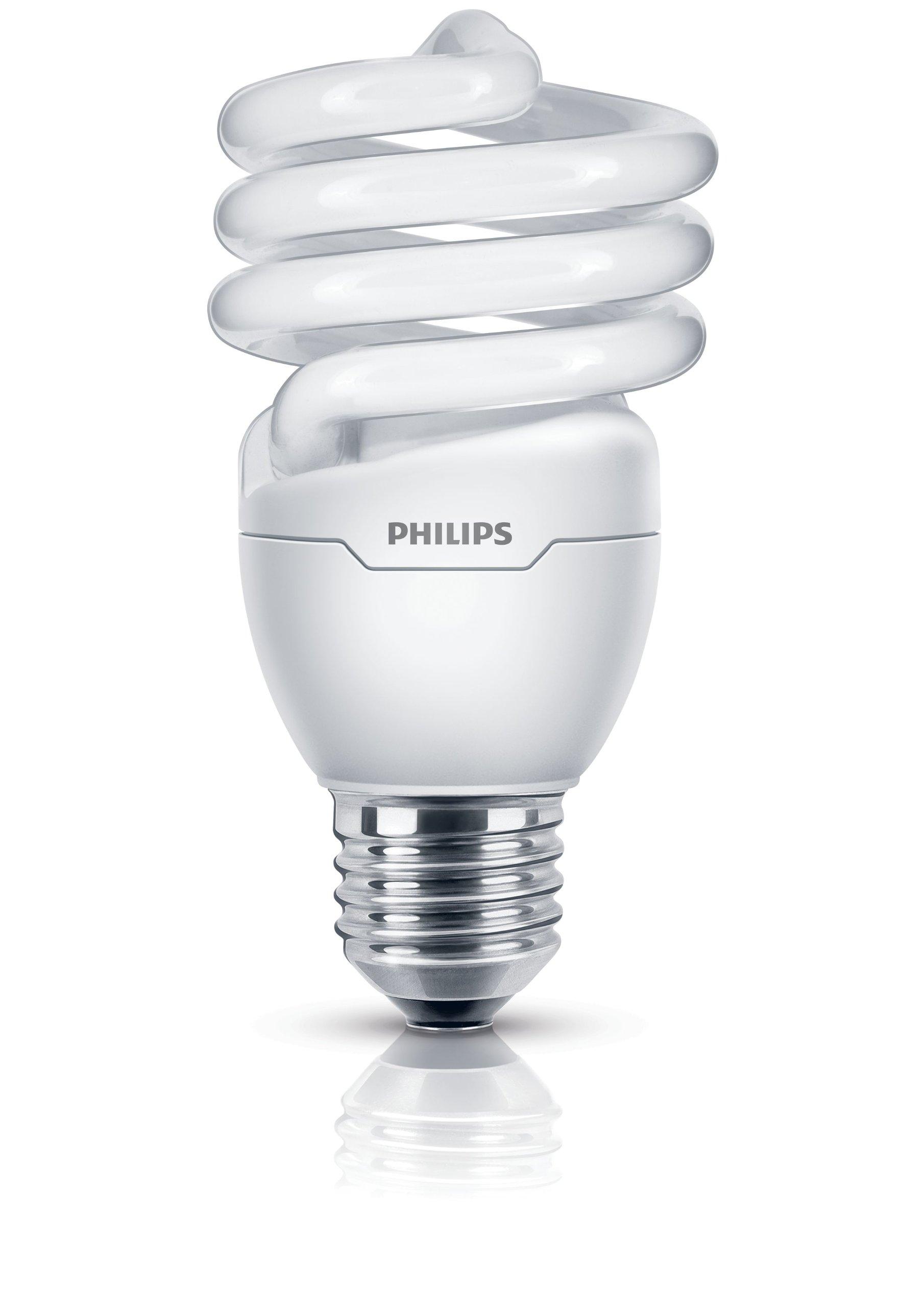 Philips E27 Edison Screw Tornado Compact Spiral Light Bulb, 20 W - Fluorescent