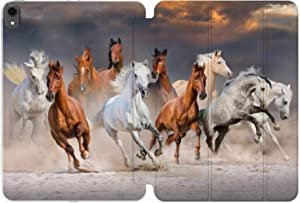 Cavka Case for Apple iPad Air 4th 2020 Gen 3th 10.2 12.9 Pro 11 10.5 9.7 Mini 5 4 3 2 1 Animals Realism Smart Cover Sky Herd Print Girl Magnetic Closure Protective Running Horses Nature Design