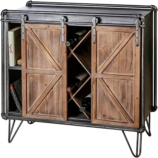 Casablanca Factory - Aparador (metal y madera, 88 cm, con 2 puertas correderas), color gris y plateado: Amazon.es: Juguetes y juegos