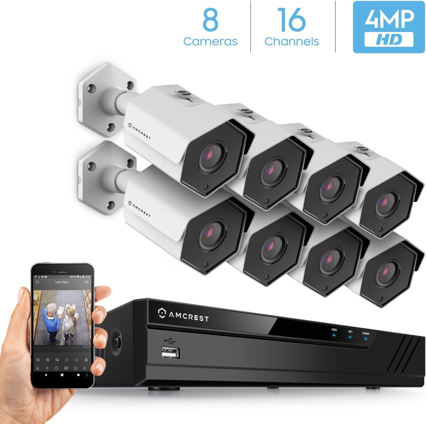 Amcrest 4MP Security Camera System, w 4K 16CH 8-Port PoE NVR, 8 x 4-Megapixel 3.6mm Wide Angle Lens Weatherproof Metal Bullet POE IP Cameras, NV4116E-HS-IP4M-1026EW8 White