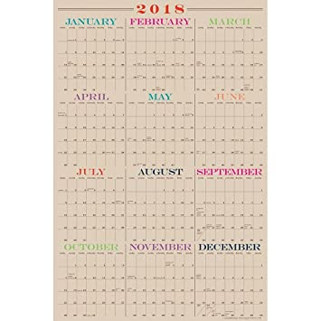 2018 full year laminate wall calendar