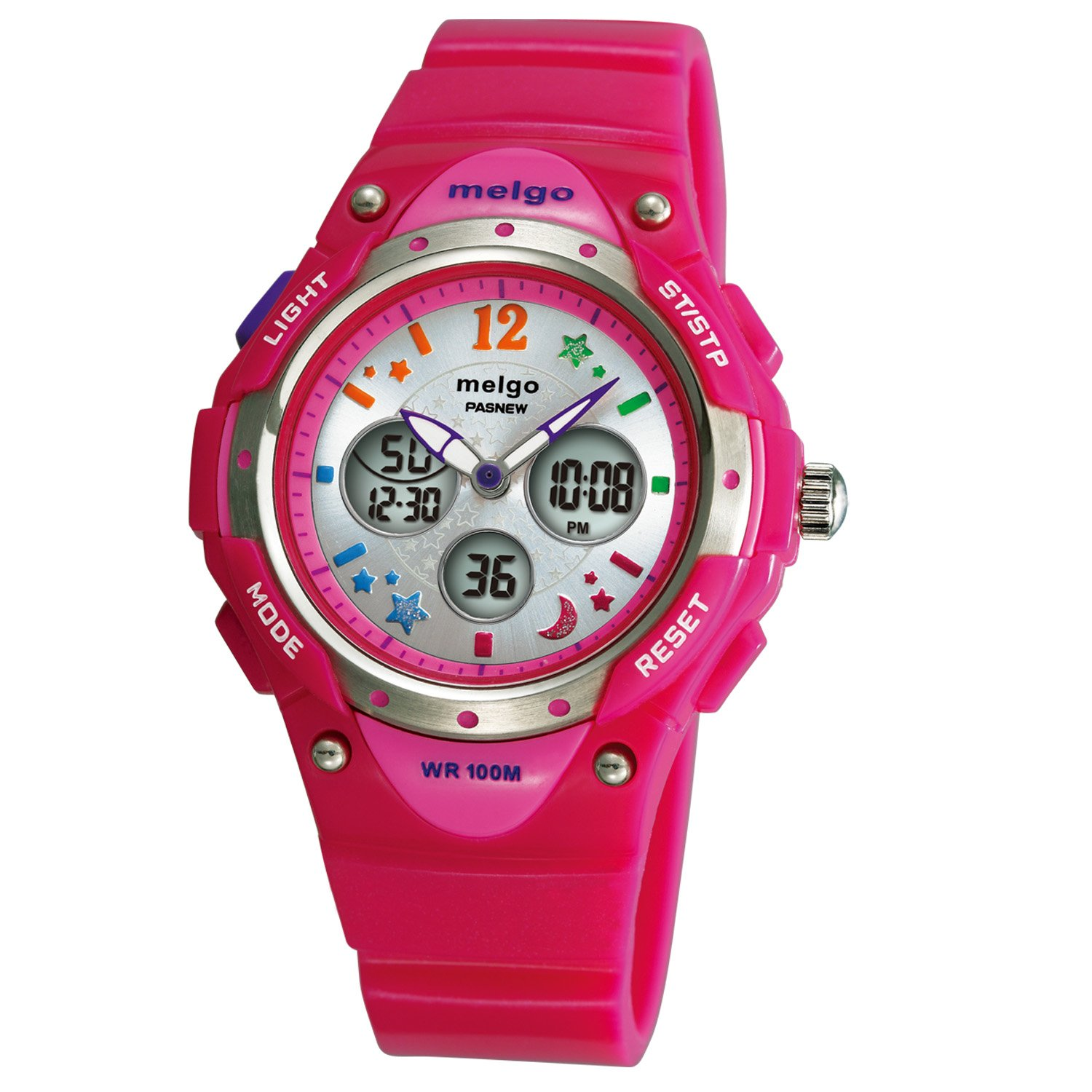 Kids Girls Watches, Dual Time Waterproof Sports Casual Wrist Watches with Star Bling 2001ad Purple (2001ad Rose)