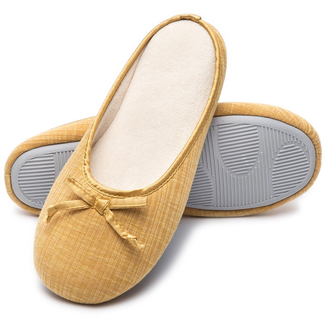 Cozy Niche Women's Closed Toe Knitted Stripe Memory Foam House Slippers With Cute Bow, Perfect For Spring and Summer (7-8 B(M) US, Yellow)