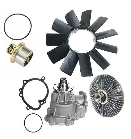 Amazon.com: Water Pump (Metal Impeller) + Thermostat + Fan Clutch + Fan Blade Kit for BMW E46 M3 Premium 11517838159/11517831907/11531318274/11521712058 (4 ...