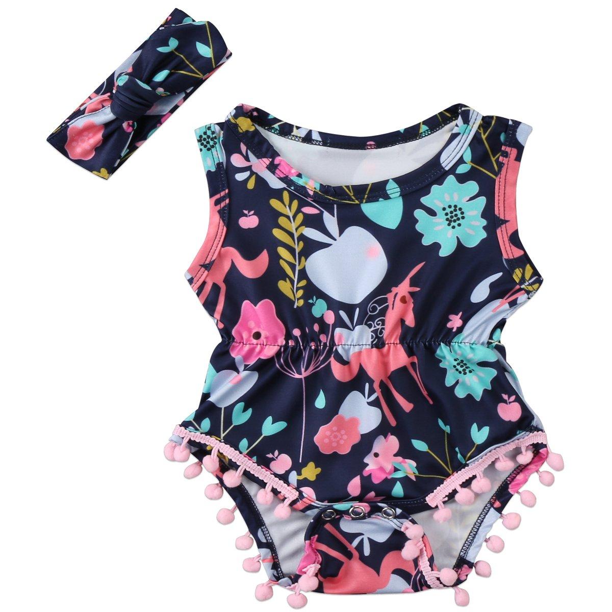 Annvivi Newborn Toddler Baby Girls' Floral Summer Outfit Pompom Romper Headband
