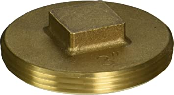 """3/"""" Brass Cleanout Plug Recessed Head 3/"""" NPT Tapped bolt hole for cover"""
