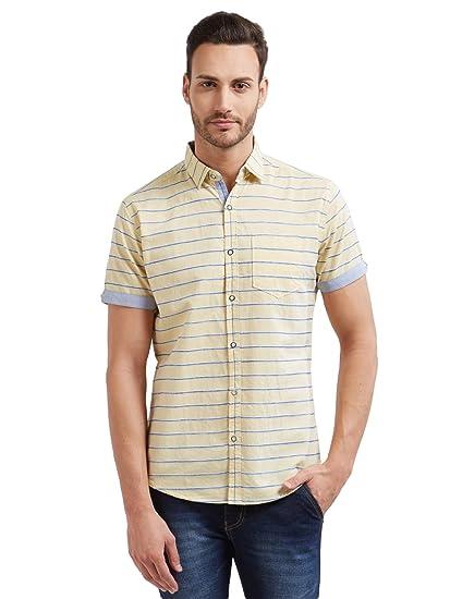 0e0db670f25e0 Vulcan Yellow Solid Half Sleeves 100% Cotton Casual Shirt for Men ...