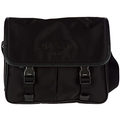 65bb29de672f Amazon.com  Prada Men s Nylon Messenger Bag Black  Shoes