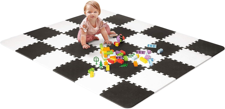 Bianco Nero Kinderkraft Palestrina Interattiva LUNO di Schiuma Neonati per Bambini Educativo Puzzle Morbido Tappetino