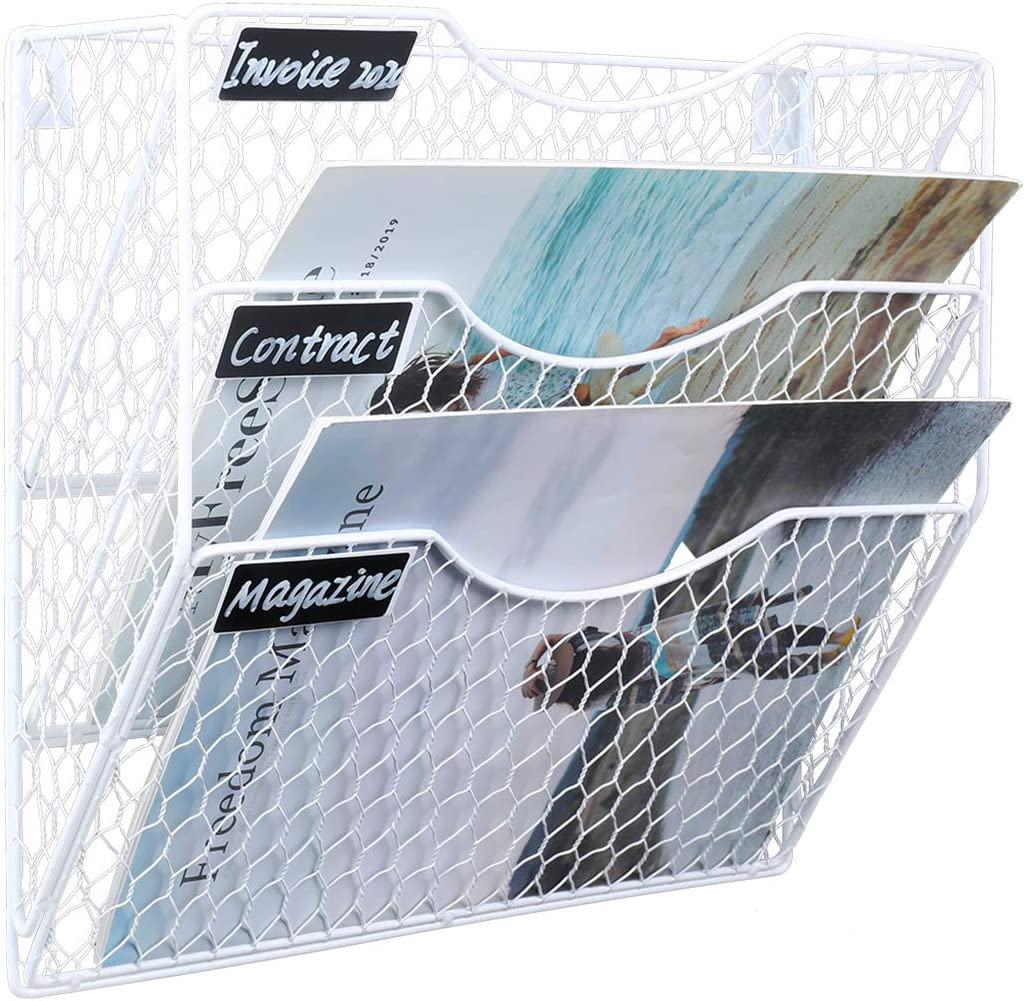PAG Wall File Holder Hanging Mail Organizer Metal Chicken Wire Wall Mount Magazine Rack, 3-Tier, White