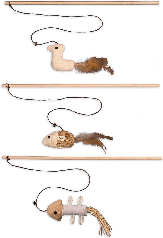 Ecoworks Premium - Juguete para gatos | Antigio natural robusto con ratón | Juego de 3 juguetes para gatos | Caja de regalo | Accesorios interactivos | Fibras y plumas naturales